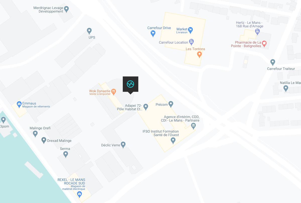 Carte emplacement de la salle de bloc le mans