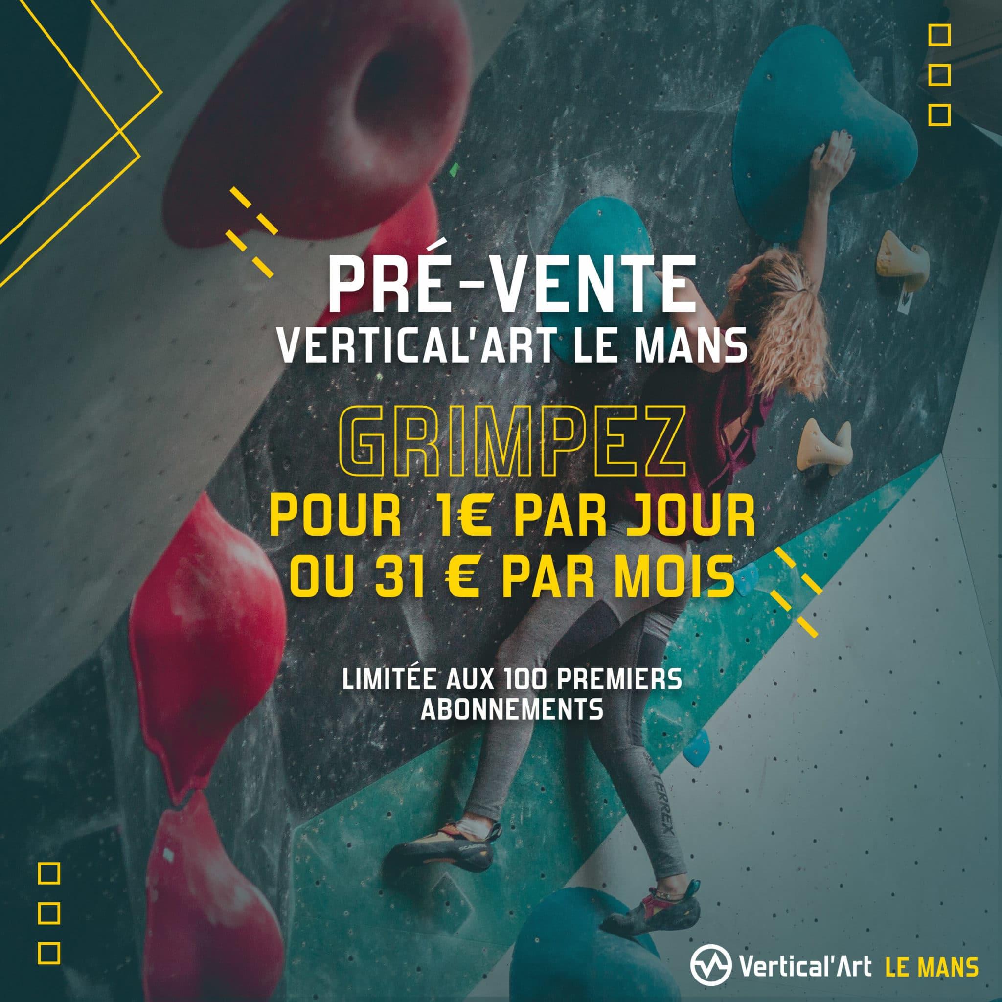 Offre grimper pour un euro par jour à Vertical'Art le mans salle d'escalade restaurant et bar