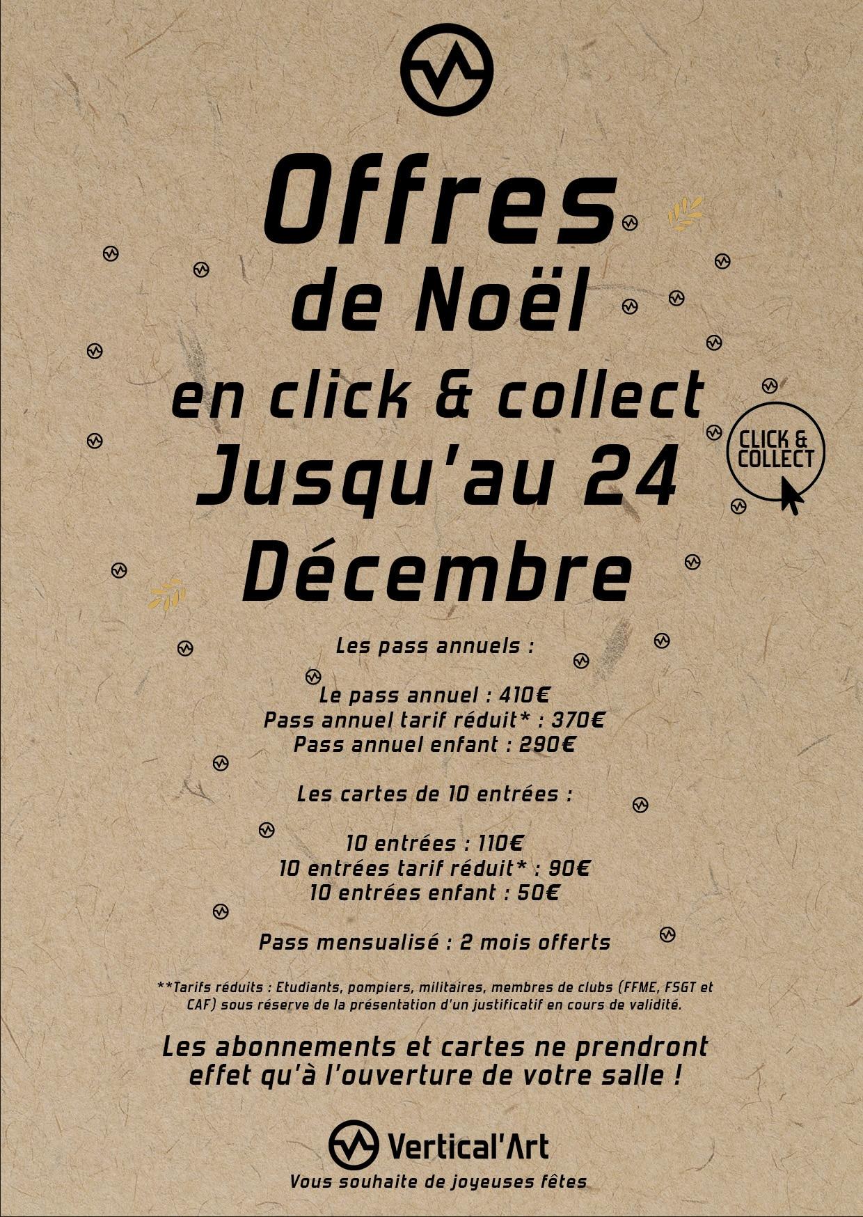 offre de noël chez Vertical'Art le mans - salle d'escalade - restaurant et bar - cadeaux de Noël