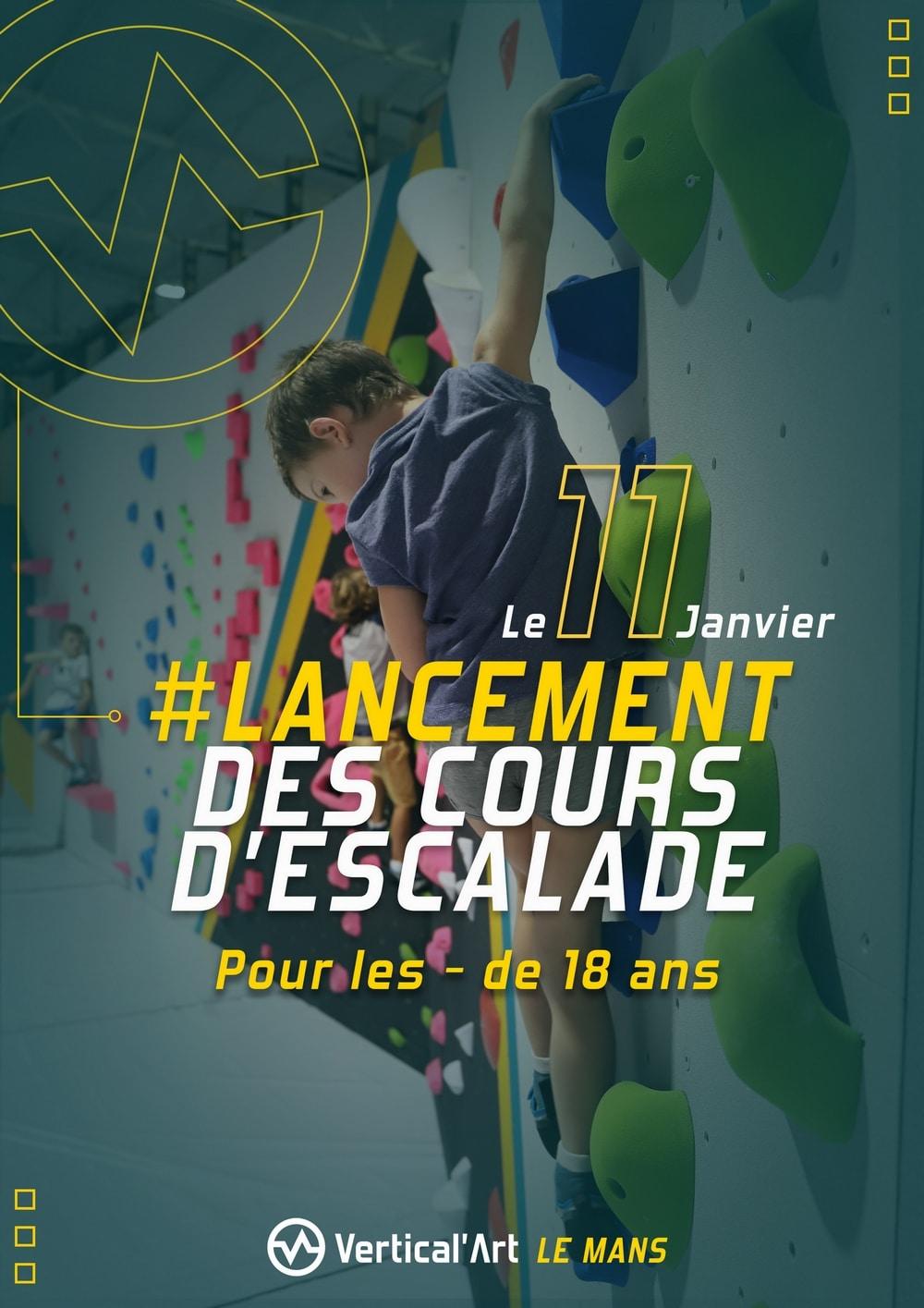 Cours semestriels pour les mineurs à Vertical'Art Le Mans, inscriptions ouvertes, formulaire d'inscription disponible en bas de notre page cours