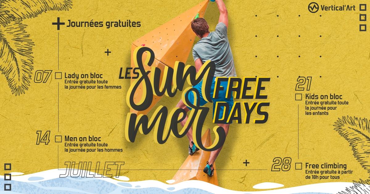 summer free day chez Vertical'Art Le Mans - salle d'escalade restaurant et bar - journée gratuite