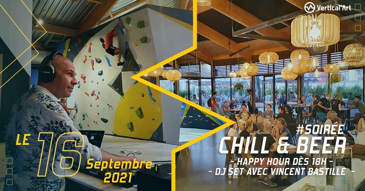 Soirée chill and beer jeudi 16 septembre 2021 à Vertical'Art Le Mans, happy hour, DJ set à partir de 18h dans votre spot de grimpe préféré