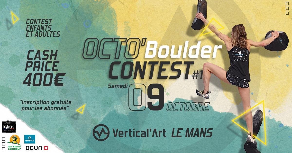 OctoBoulder Contest le samedi 09 octobre à Vertical'Art Le Mans, première édition de notre contest automnal avec un cash prize et de nombreux lots mis en jeu, ouvert aux enfants, ados et adultes. L'inscription est gratuite pour tous nos abonné.e.s !