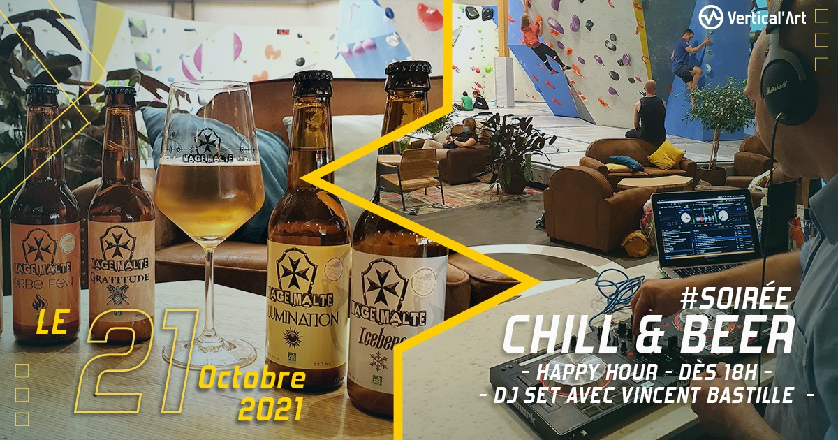 Soirée Chill and beer VA Le Mans jeudi 21 octobre 2021. Happy Hour dès 18h, DJ set avec Vincent Bastille.